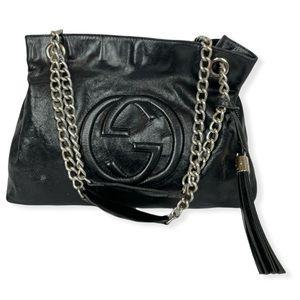 GUCCI Soho GG Chain Shoulder Tote Bag Patent